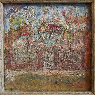 Antique FRENCH FAUVIST Landscape Oil Painting- MANOR HOUSE AT SPRINGTIME