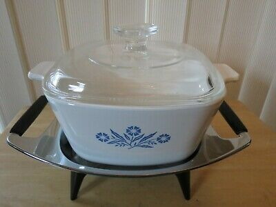 Viintage Corning Ware 1 3/4 Qt Casserole With Lid And Warmer Trivet