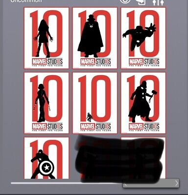 Topps Marvel Collect Card Trader Studios First Ten 10 Years Silhouette Set of 7