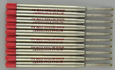 10 Red Mitrax brand ballpoint refills 0.8 mm point compatible with Parker pens