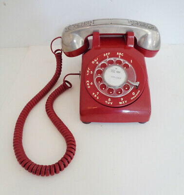 Vintage Red Western Electric Dial Desk 500 Telephone Phone