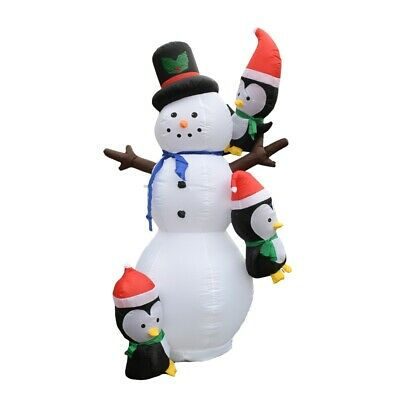 ALEKO Outdoor Christmas Yard Decoration Inflatable LED Snowman 7 ft with Blower