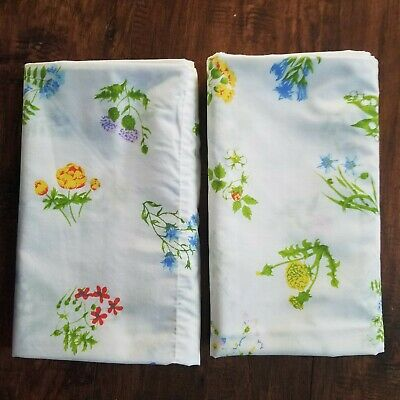Vintage Fieldcrest Wildflowers Floral Standard Size Pillowcases Made in USA