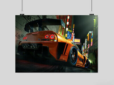 BLUE GTR NISSAN SKYLINE POSTER PRINT STREET RACING WALL ART GRAFFITI STREET