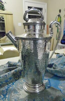Derby S. P. Co 1914 International Silver Hand Hammered Decanter + Lid Exclnt!