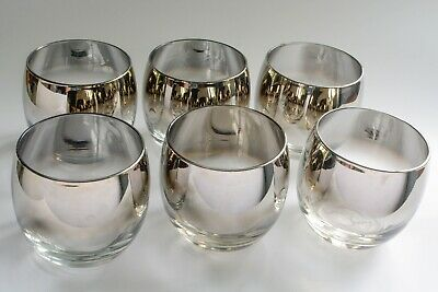 Set Of 6 Dorothy Thorpe Silver Fade Roly Poly Glasses 10 Oz MCM Mad Men Barware