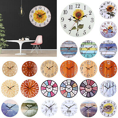 Vintage Wooden Wall Clock 30cm Shabby Chic Rustic Kitchen Home Antique Decor