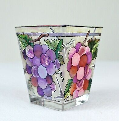 9042-G 2-PIECE SET Grapes Stained Glass Candle Holders