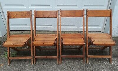 Vintage Snyder Antique Oak Wooden Folding Chairs Set Of 4