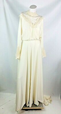 Alessandro women's Vintage Wedding Dress large ivory polyester high collar