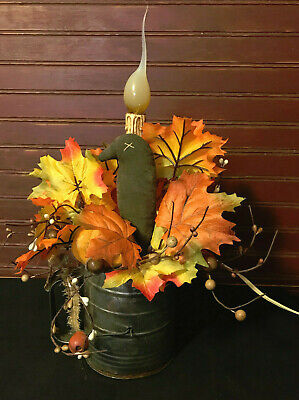 Vintage Flour Sifter Lamp with Fall Leaves, Pumpkin and Crow
