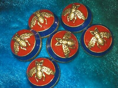100% Gucci 🌺 buttons 6 dark red navy blue brass  bees 20 mm dome style lot 6 ❤️