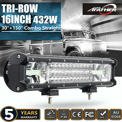 CREE LED Light Bar Spot Flood 3ROW Combo Beam Offroad Work Fog Lamp 432W 16INCH
