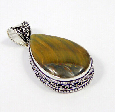 Tiger's Eye .925 Silver Plated Carving Pendant Jewelry JC7407