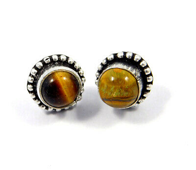 Tiger's Eye .925 Silver Plated Handmade Stud Earring Jewelry JC8218