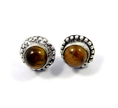 Tiger's Eye .925 Silver Plated Handmade Stud Earring Jewelry JC8225