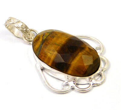 Tiger's Eye .925 Silver Plated Handmade Pendant Jewelry JC4776