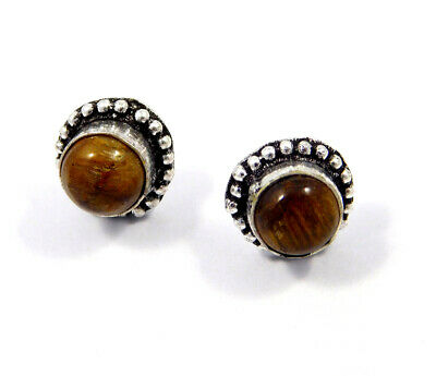 Tiger's Eye .925 Silver Plated Handmade Stud Earring Jewelry JC8190