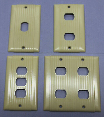 ▶YOU CHOOSE◀ Vintage Uniline Ivory Ribbed Despard Interchangeable Plates Covers
