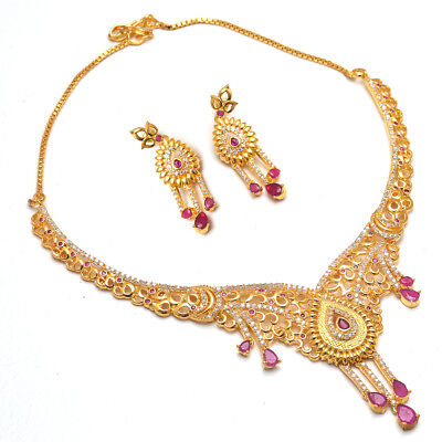 Necklace Set Red Rubies Ad Cz Gemstones 2 Gram Gold Plated Jewelry 17983