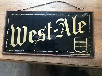 West ale reclame beer sign not new old rare achterkant karton glas metal bord