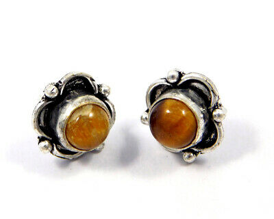 Tiger's Eye .925 Silver Plated Handmade Stud Earring Jewelry JC8202