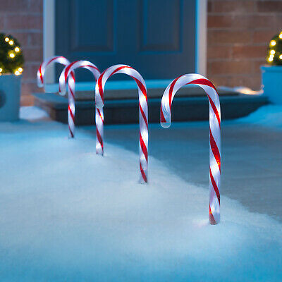 Christmas Candy Cane Pathway Lights LED Outdoor Garden Decorations 26cm 4 Pack