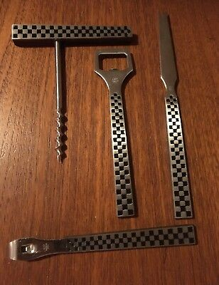 Checker Flag 1960s Bar Set YAX Cork Screw, Bottle and Can Opener, Cheese Knife.