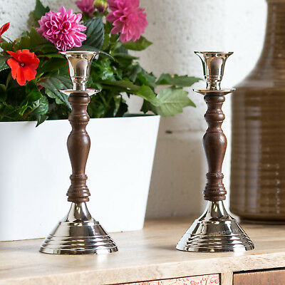 Set of 2 Gothic Wood & Metal Candle Stick Holders 22cm Large Candlestick Tall