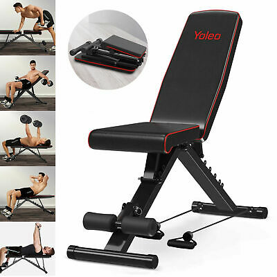 EasyBuild Adjustable Folding Olympic Weight Bench - Upright to Decline Black