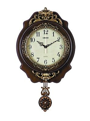 Ornate Hand Painted Brown and Gold Pendulum Wall clock by Lisheng 32 x 7.5 x55cm