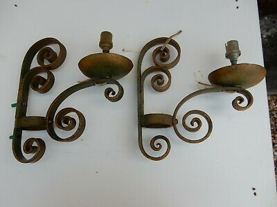 Art Deco Light Fittings To Restore  Pair Wall Sconces  Wrought Iron