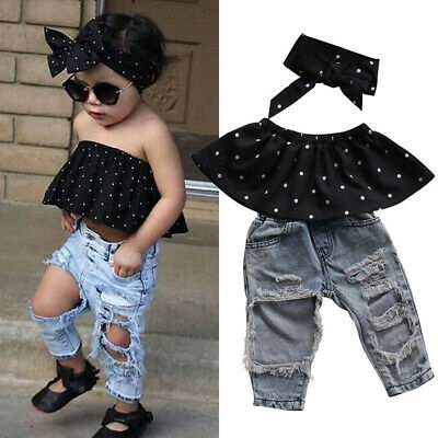 Baby Girls Cool Dot Cover Crop Ripped Jeans Hairband Three-piece Outfits Props