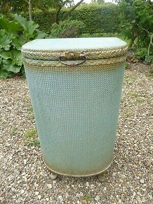 Vintage Turquoise Gold Lloyd Loom Style Ottoman Laundry Box Shabby Chic Country