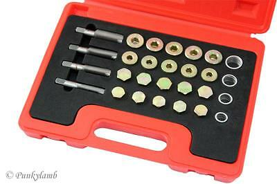 24pc Oil Pan Thread Repair Kit Set Sump Drain Plug Repair Tool M13 M15 M17 M20