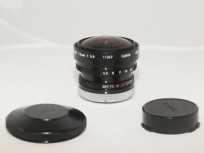 Canon 'Fish-Eye' 7.5mm f5.6 Fd Angle Large Objectif Rare pour Find. Sony a7RIII
