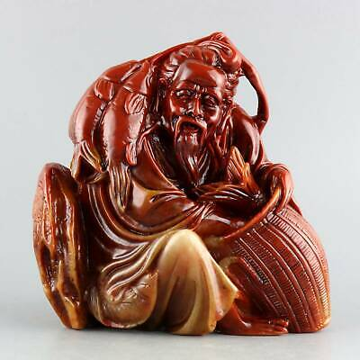 Collect Shoushan Stone Hand-Carved Old fisherman & Fish Exquisite Decor Statue
