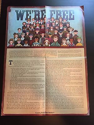 We're Free Poster Freedom Constitution Bill of Rights 1974 Learning