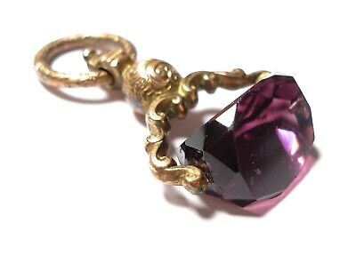 Beautiful Antique Georgian Or Victorian Amethyst Glass Swivel Fob Af