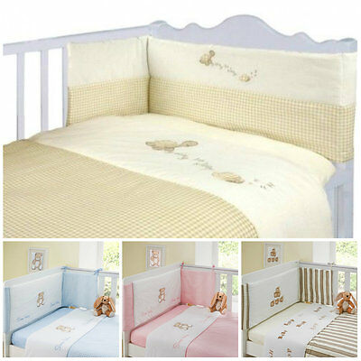 Luxury 3 Piece Baby Bale Set Bumper Quilt Fitted Sheet Unisex Cot/ Cot Bed