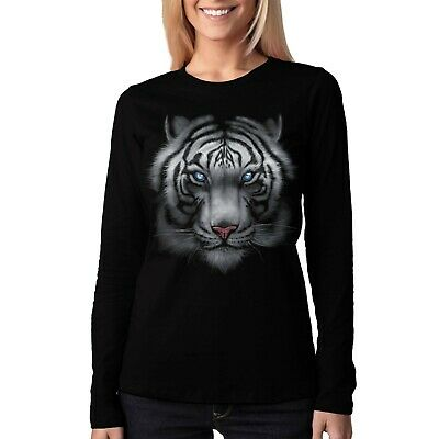 Velocitee Ladies Long Sleeve T-Shirt White Tiger Face Majestic Big Head A15442