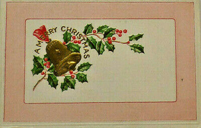 A Merry Christmas  Bell & Holly Scene Embossed White Border Postcard A7