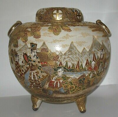 Excellent  Large Antique Kyoto Satsuma Meiji 19th Century Koro Incense Burner