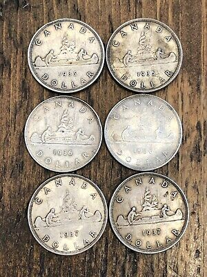 Lot of 6 $1 Dollar Canada Silver Coin Collection 1935 (2) 1936 (2) 1937 (2)