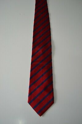 Hackett London red silk and cotton necktie with navy blue striped pattern