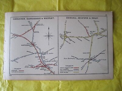 RARE 1899 RAILWAY CLEARING HOUSE Junc Diagram.No.28 SELBY AREA.COATBRIDGE AREA.