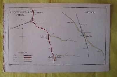 1903 RAILWAY CLEARING HOUSE Junc Diagram No.58 PENRITH,CLIFTON & TEBAY/APPLEBY.
