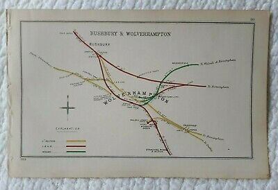 1903 RAILWAY CLEARING HOUSE Junction Diagrams.WOLVERHAMPTON, BUSHBURY.