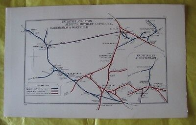 1928 RAILWAY CLEARING HOUSE Junction Diagrams No.52 WAKEFIELD,NORMANTON,CROFTON.