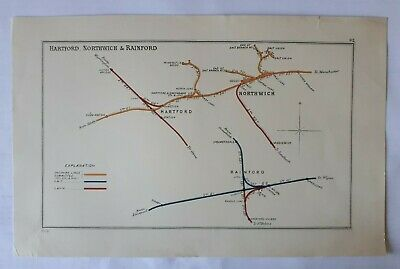 1908 RAILWAY CLEARING HOUSE Junc Diagram No 92  HARTFORD,NORTHWICH & RAINFORD.